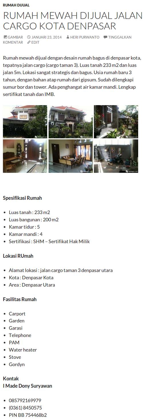 Rumah Mewah Dijual Jalan Cargo Kota Denpasar  Rumah Minimalis 2014